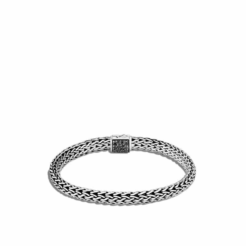 Classic Chain 6.5MM Rainbow Moonstone Lava Treated Black Sapphire Reversible Icon Bracelet
