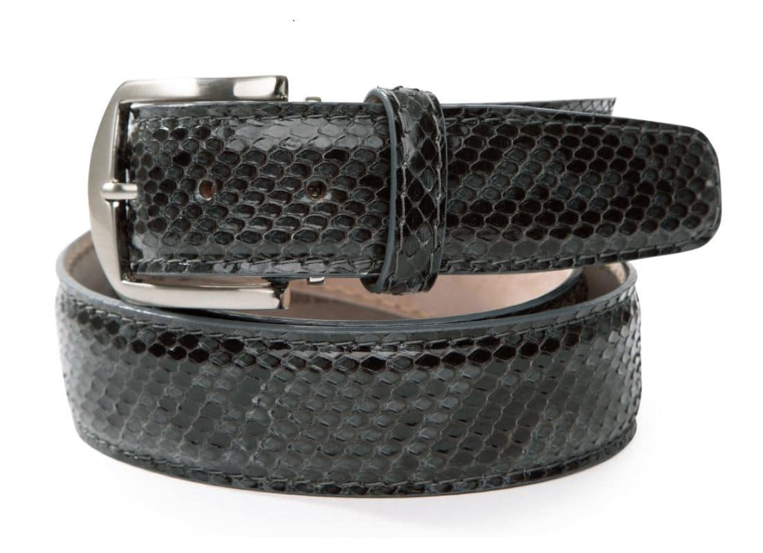 Glazed Python 40mm L. E. N. Lifestyle Belt in Gray