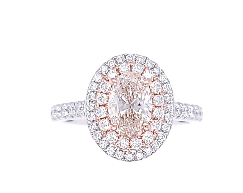 Double Halo Oval Diamond 14k White and Rose Gold Engagement Ring