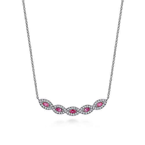 Diamond and Ruby Necklace 14K White Gold