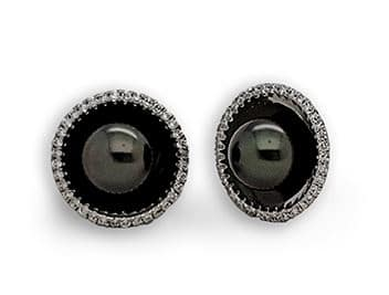 Diamond And South Sea Cultured Pearl In 14K White Gold Cufflinks