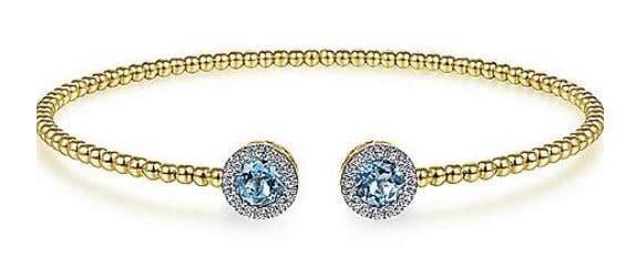Blue Topaz and Diamond Halo Bujukan 14K Yellow Gold Bangle