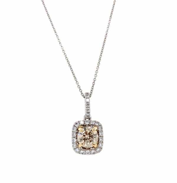 Ladies 14k Two-Tone Gold Cushion Diamond Necklace
