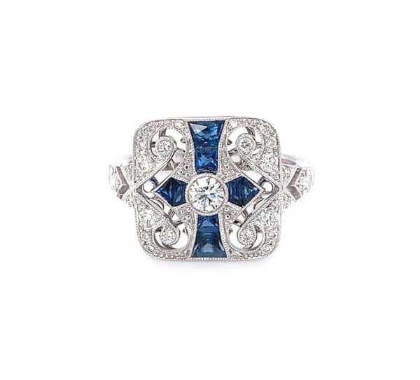 18K White Antique Forevermark Ring