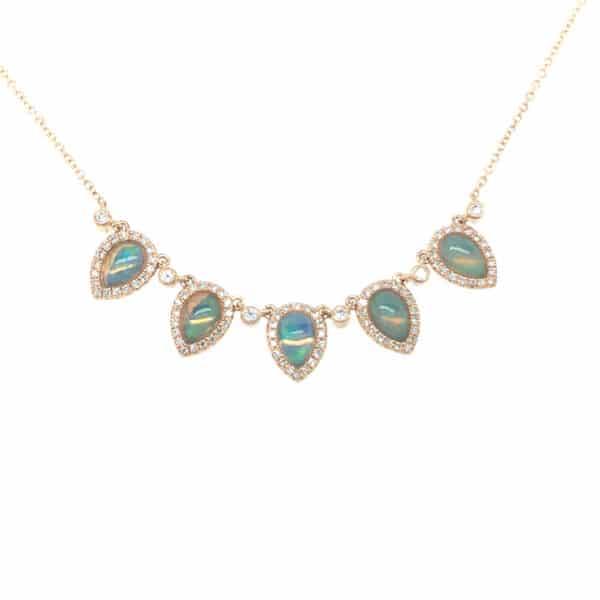Opal and Diamond 14K Yellow Gold Fashion Necklace