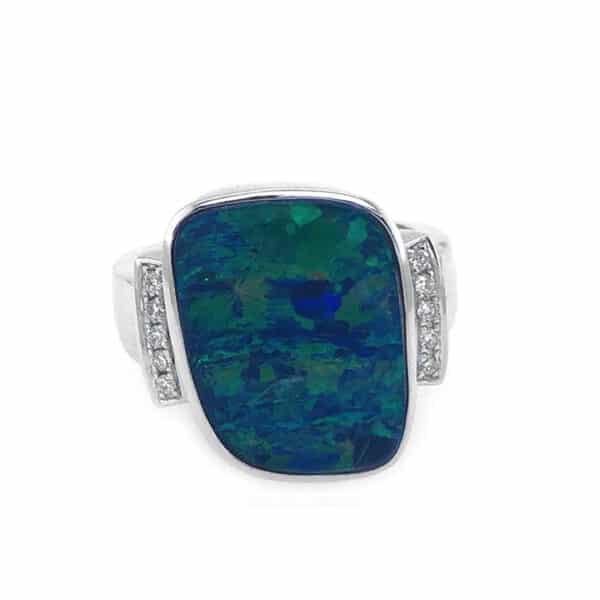 Opal and Diamond 18K White Gold Fashion Ring