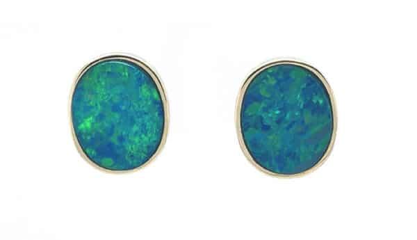 Oval Opal Bezel 14K Yellow Gold Stud Earrings