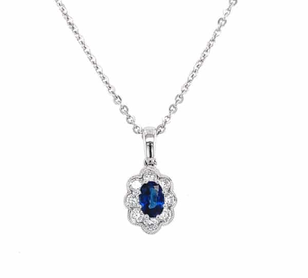 Oval Sapphire and Diamond Halo 14K White Gold Fashion Necklace