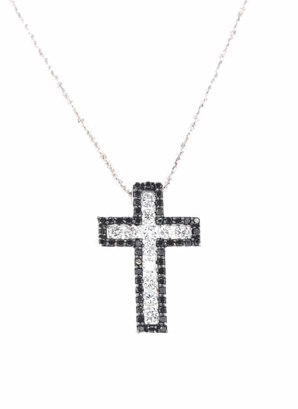 Diamond Cross Necklace in 14K White Gold