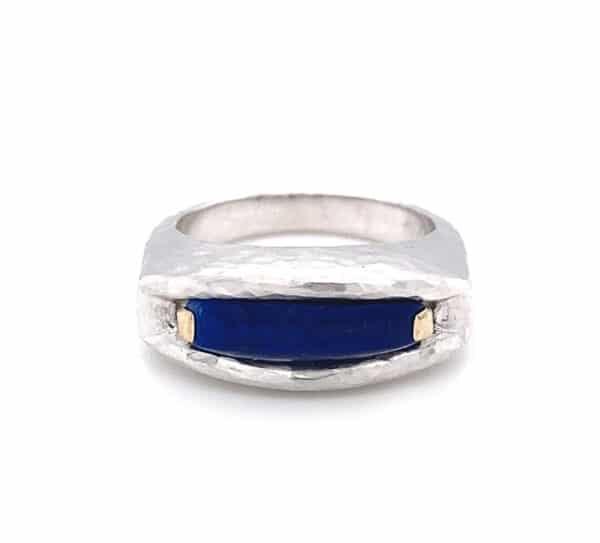Lazuli Lapis and 18K White Gold Fashion Ring