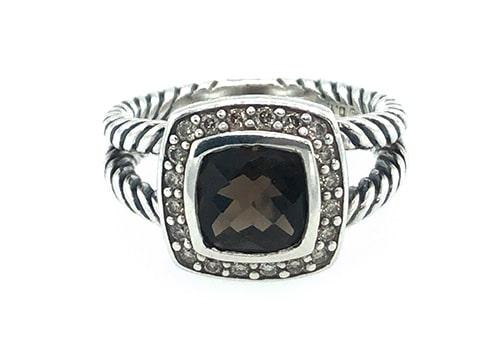 Smoky Quartz and Diamond Sterling Silver Estate Ring