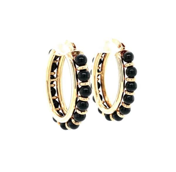 Black Onyx 18K Yellow Gold Beaded Hoop Earrings