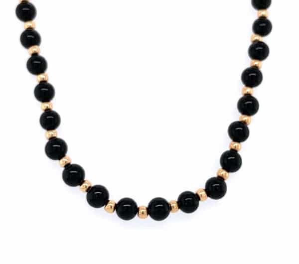 18K Yellow Gold Black Onyx Beaded Necklace