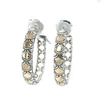 Sterling Silver and 18K Yellow Gold Estate Hoop Earrings